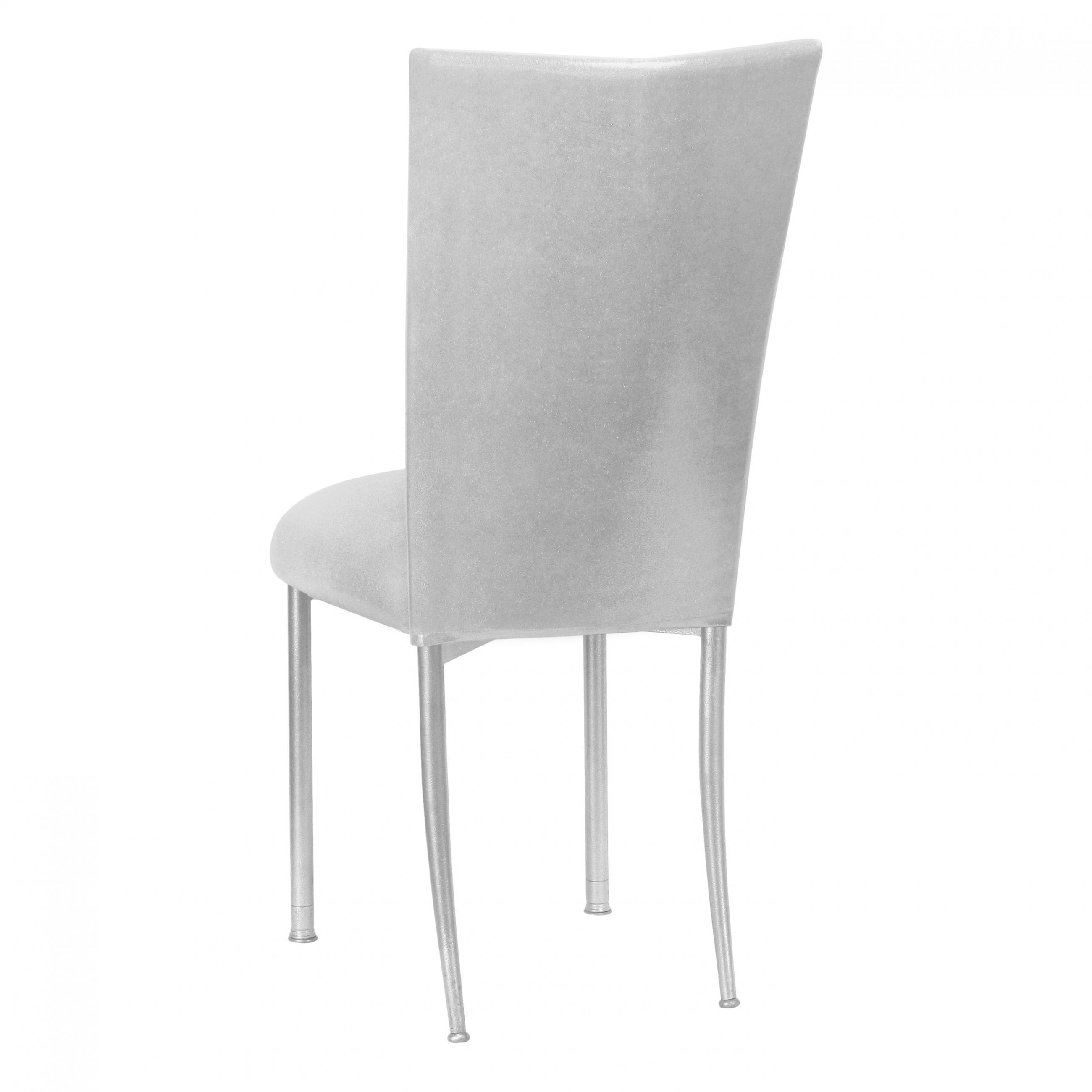 Peachy Stretch Knit Metallic Silver Fanfare Chameleon Chair Topper Beatyapartments Chair Design Images Beatyapartmentscom