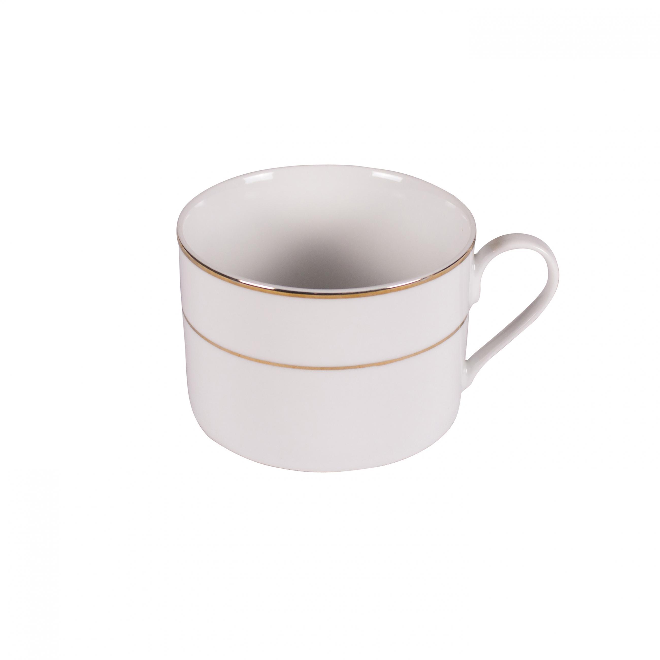 8oz White W Thin Gold Rim Short Coffee Cup Peak Event Services