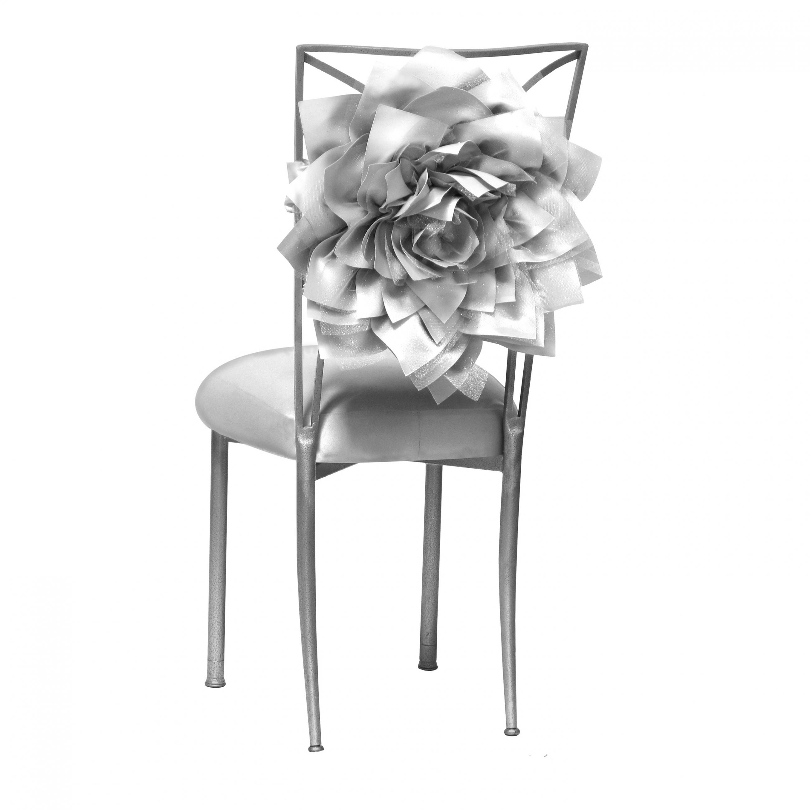 Strange Satin Silver Bloom Fanfare Chameleon Chair Topper Peak Theyellowbook Wood Chair Design Ideas Theyellowbookinfo