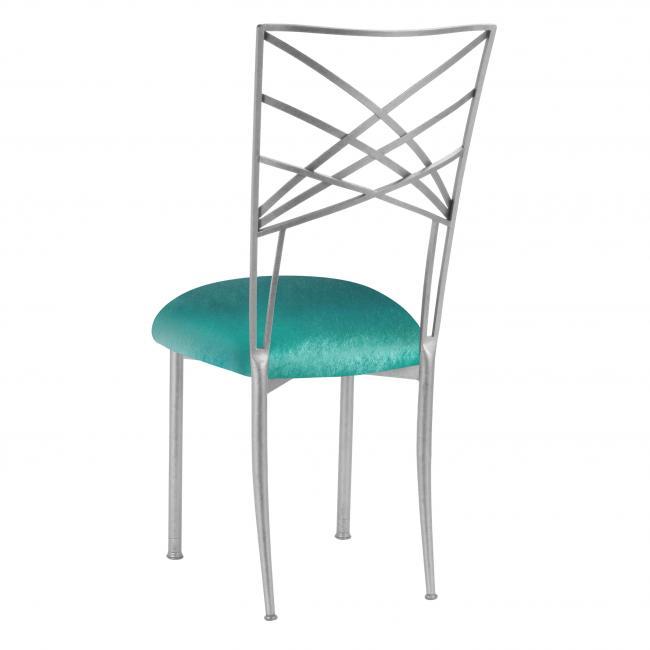 Velvet Turquoise Fanfare Chameleon Chair Cushion Cap Peak Event