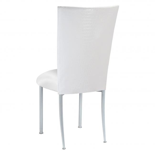 Excellent White Croc Fanfare Chameleon Chair Topper Peak Event Services Frankydiablos Diy Chair Ideas Frankydiabloscom