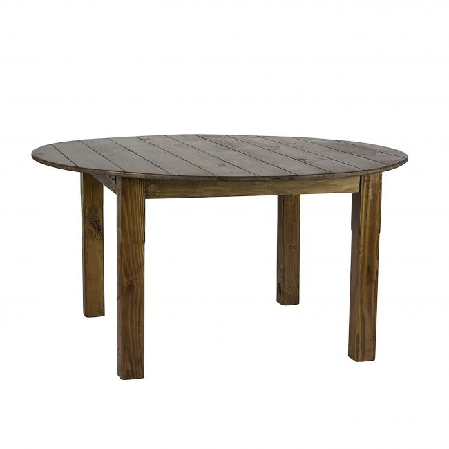 Round Rustic Brown Farm Tables